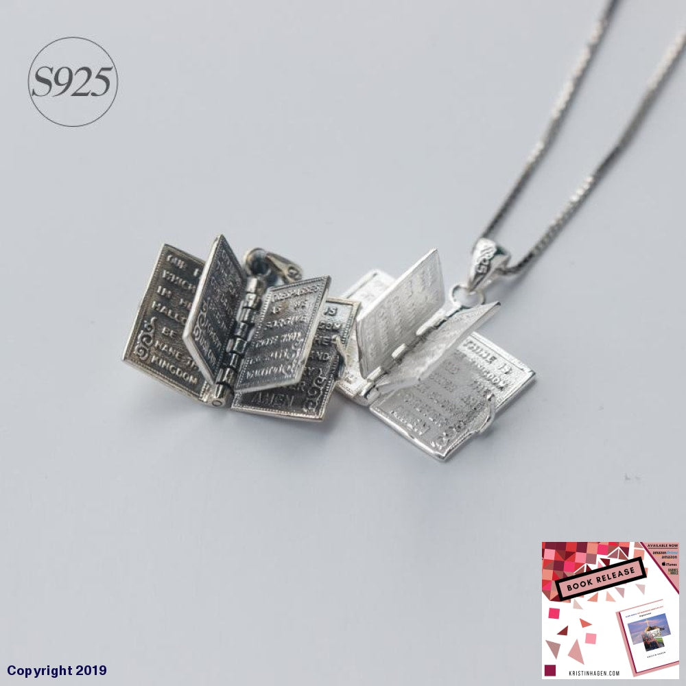 1Pc 925 Sterling Silver Holly Bible Necklaces & Pendants | Book Page Charms Power Necklace Christian