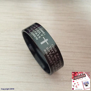 Black Men English Bible Ring 8Mm 316 Titanium Steel Cross Letter Prayer Wedding Band The Lord Of