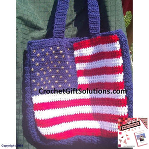 Crochet Tote Bag American Flag Patriotic Americana - Made To Order Gift Solutions