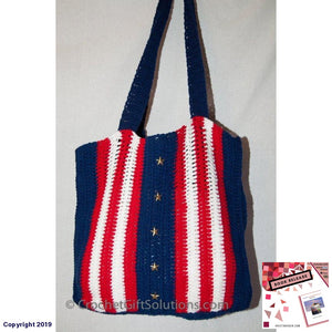 Crocheted Gift Bag Americana Tote Patriotic Book School Crochet Solutions