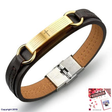 Load image into Gallery viewer, Jiayiqi Fashion Cross Bible Brown Leather Bracelet Men Stainless Steel Bracelets & Bangles Male