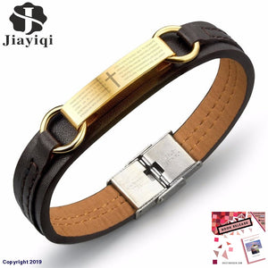 Jiayiqi Fashion Cross Bible Brown Leather Bracelet Men Stainless Steel Bracelets & Bangles Male