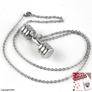 Kraft-Beads Stainless Steel Popular Plate Weight Necklace Metal Dumbbell Pendant For Cool Men Women