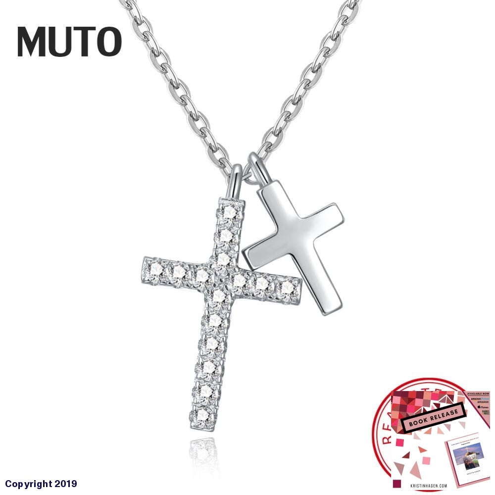 Muto New Arrival 925 Sterling Silver Faith Cross Shape Crystal Women Pendant Necklaces Authentic