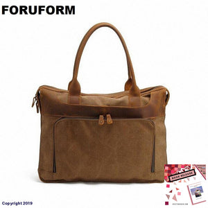 New Arrival Fashion 15Inch Laptop Canvas Briefcase Mens Business Leather High Quality Messenger Bag