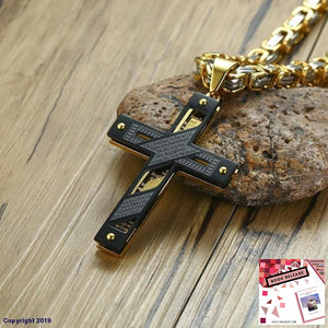 Our Father Stylish Cross Pendant Necklace For Men Stainless Steel Heavy Byzantine Chain Christian