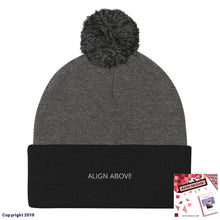 Load image into Gallery viewer, Pom Knit Cap Dark Heather Grey/ Black Signature Align Above