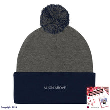 Load image into Gallery viewer, Pom Knit Cap Dark Heather Grey/ Navy Signature Align Above