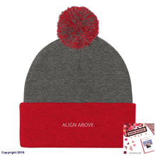 Load image into Gallery viewer, Pom Knit Cap Dark Heather Grey/ Red Signature Align Above