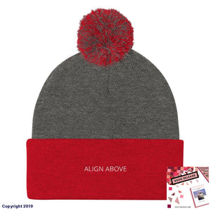 Pom Knit Cap Dark Heather Grey/ Red Signature Align Above