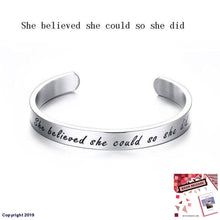 Load image into Gallery viewer, Vnox Engraved Chicken Soup For The Soul Words Cuff Bracelets Women/men Stainless Steel Open &