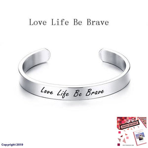 Vnox Engraved Chicken Soup For The Soul Words Cuff Bracelets Women/men Stainless Steel Open &