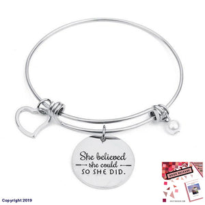 Xinyao Stainless Steel Round Heart Pearl Charms Bangle Bracelet Engraved She Believed Could So Did