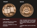 """Currency of the Pandemic"" Coronavirus Inspired Challenge Coin in Antique Copper"