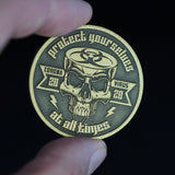 """Covid Skeleton"" Coronavirus Inspired Challenge Coin in Antique Bronze"