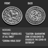 """Covid Skeleton"" Coronavirus Inspired Challenge Coin in Antique Silver"