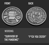 """Survivor of the Pandemic"" Coronavirus Inspired Challenge Coin in Antique Silver"