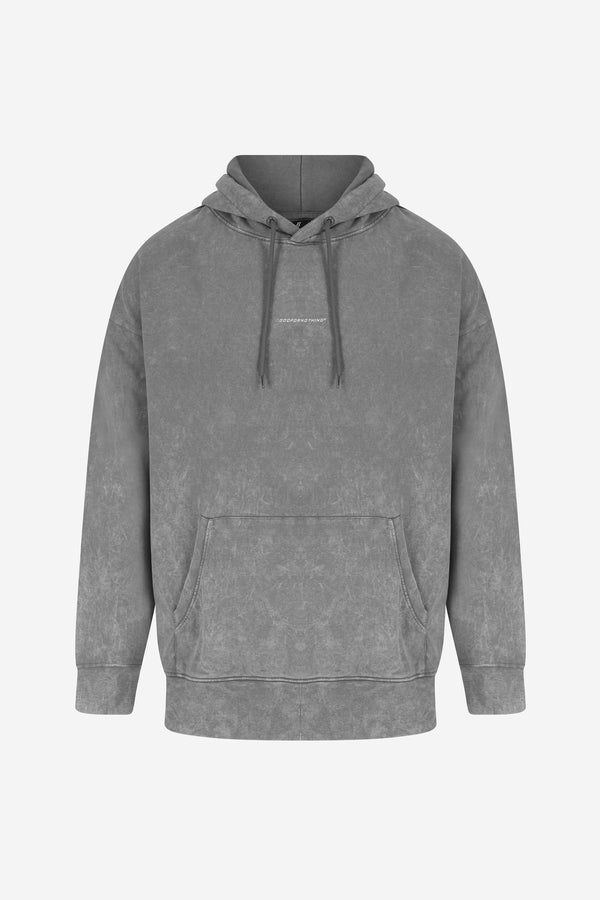 Oversized Italic logo Acid Wash Grey Hoodie