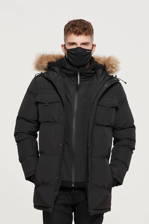 Storm Black Double Layered Parka