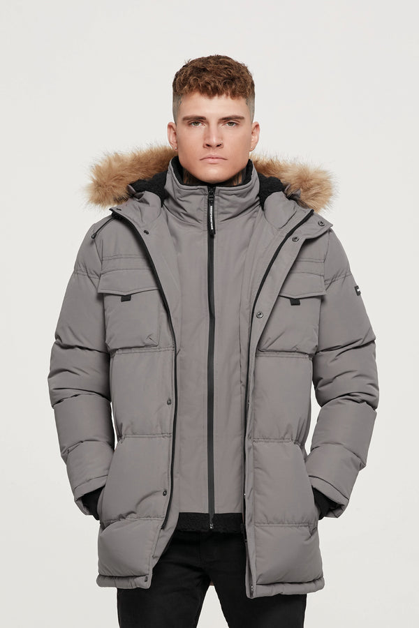 Storm Taupe Double Layered Parka