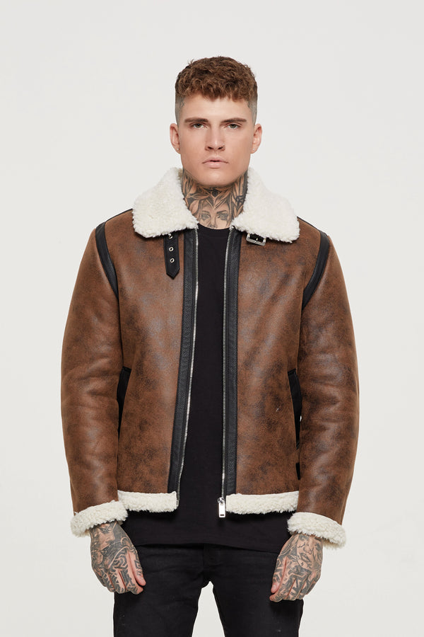 Shearling Brown Bomber Jacket