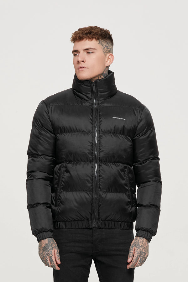 Ripstop Black Puffer Coat