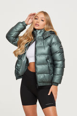 Metallic Sage Puffer Jacket