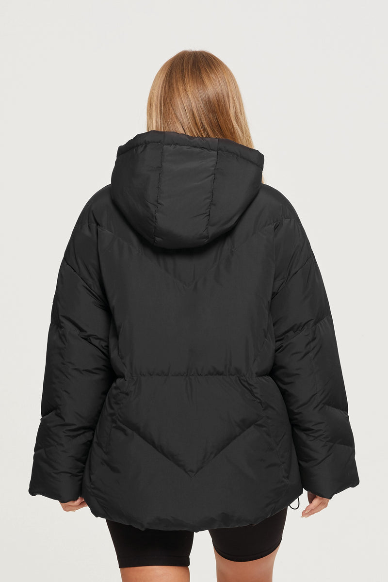 Oversized Glacier Black Puffer Coat