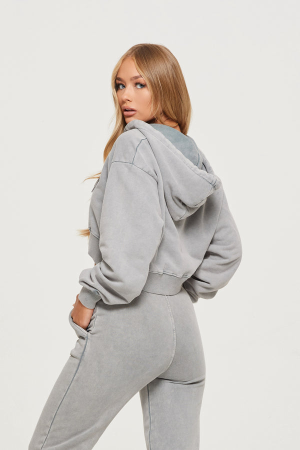 Acid Wash Grey Zip Hoodie