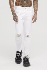 Skinny Destroyed White Denim