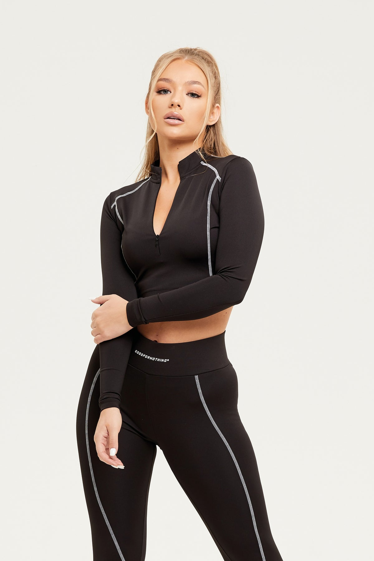 Track Zip Black Crop Top