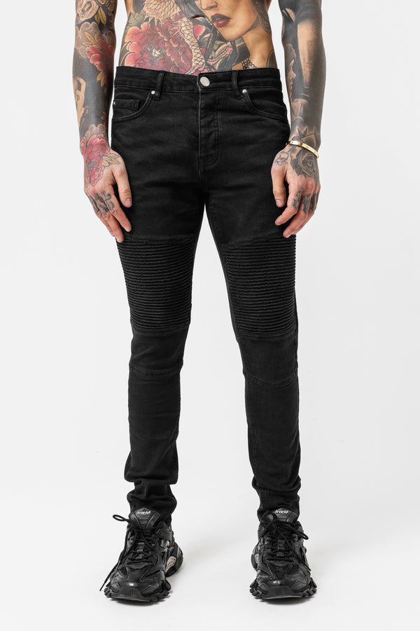 Skinny Black Biker Denim