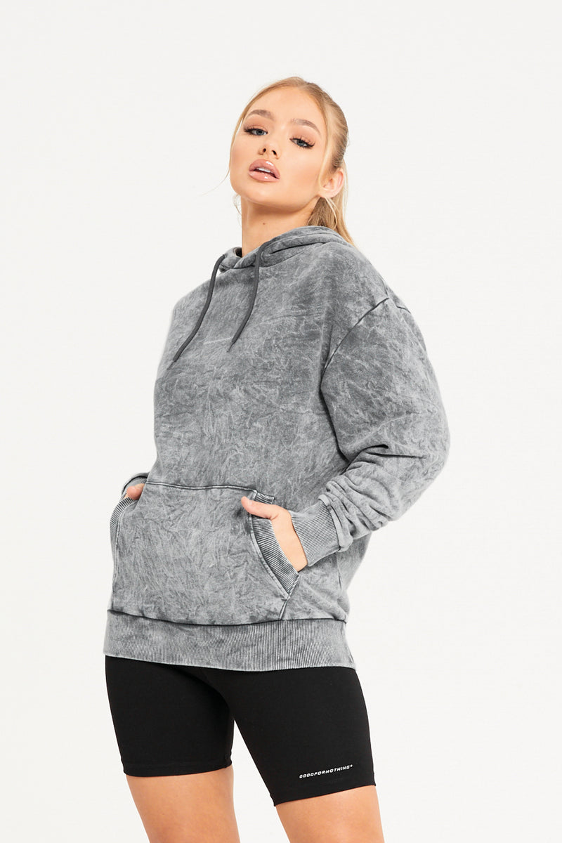 Oversized Acid Wash Grey Hoodie