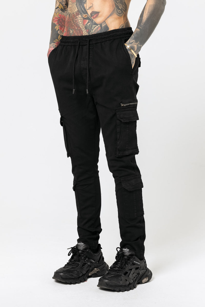 Zip Cargo Black Pants