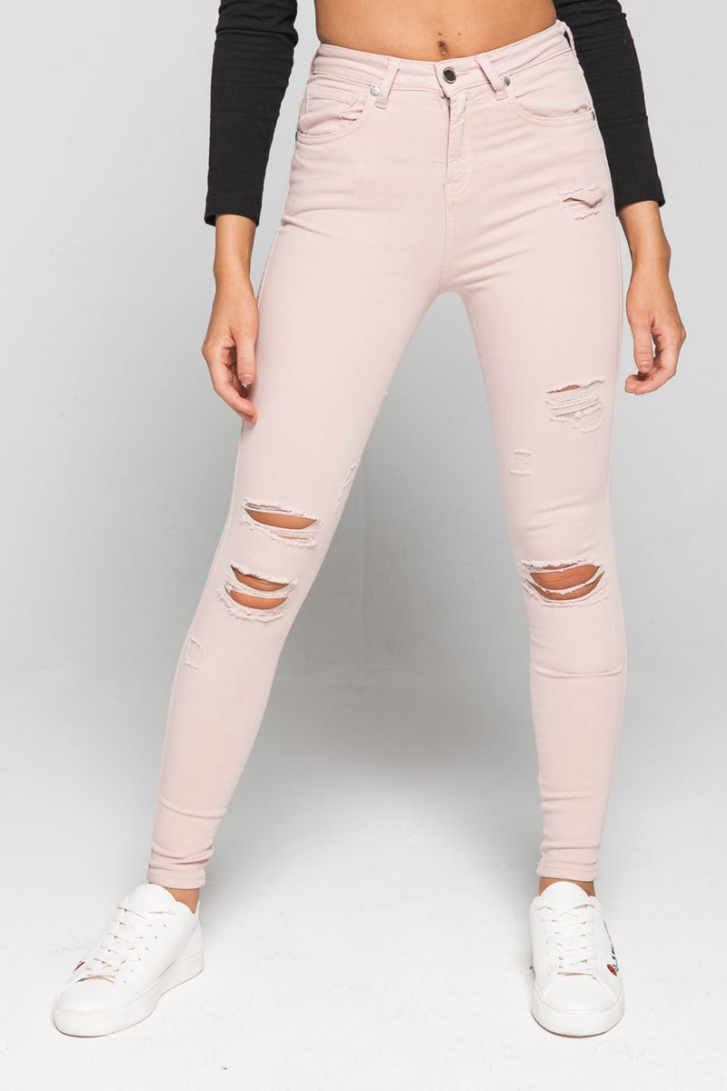 Womens Destroyed Denim Pink