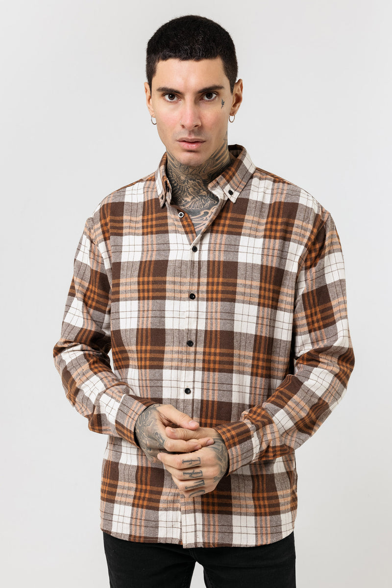 Oversized Rust Flannel Shirt