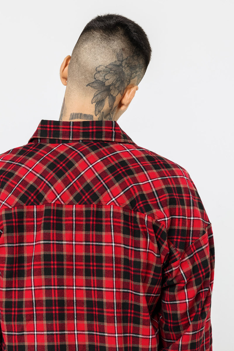 Oversized Red Flannel Shirt