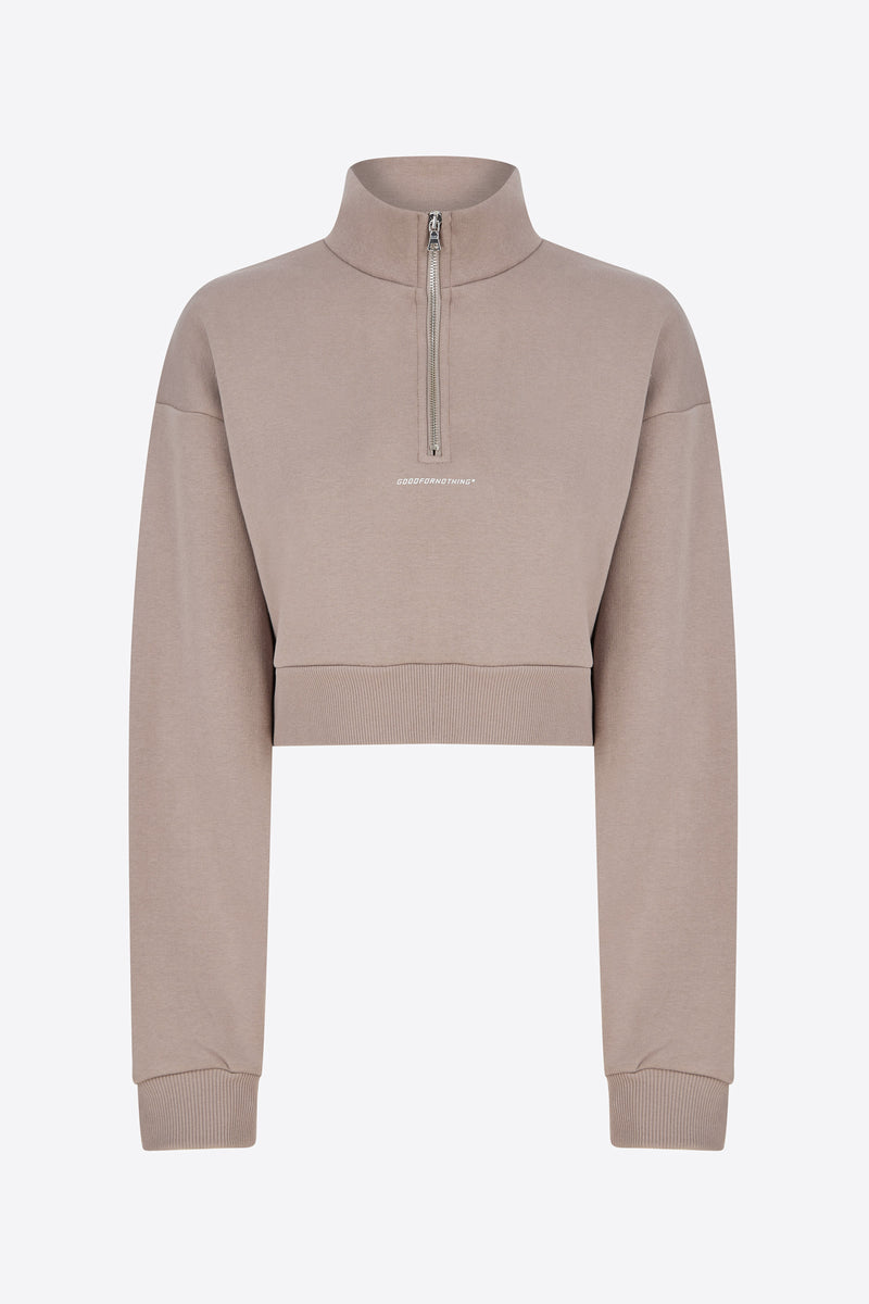 Essential Taupe Zip Sweatshirt