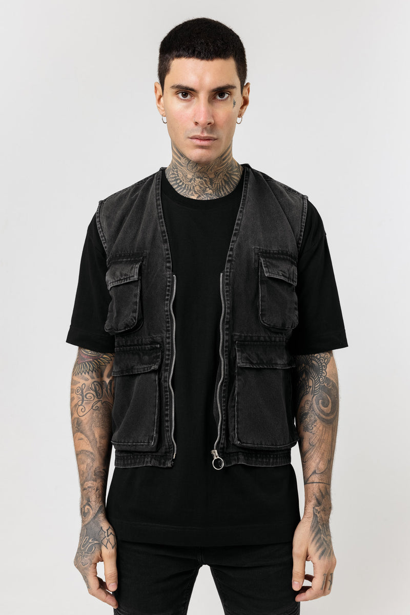 Utility Denim Black Jacket