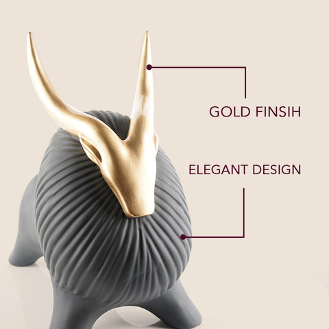 Golden Horned Yak Table Accent