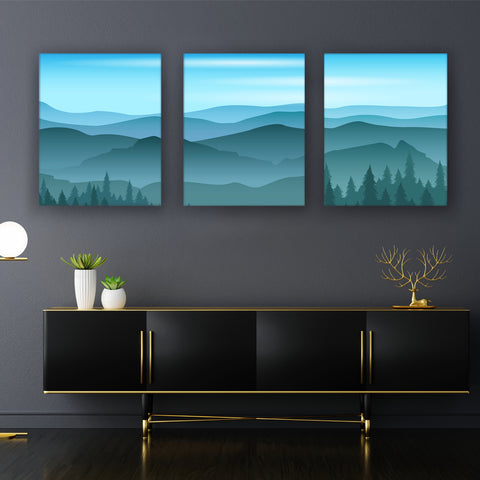 Blue and Wintery Landscape Canvas