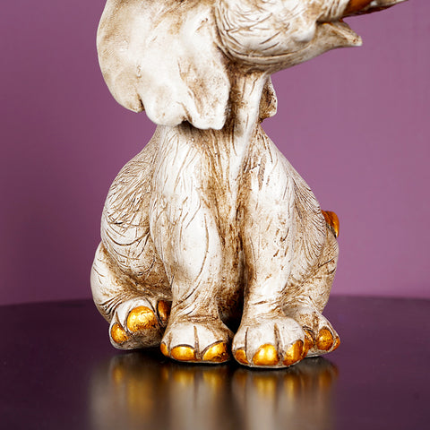Feng Shui White Elephant Table Accent