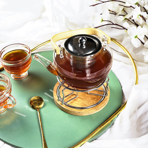 Surreal Walled Tea Pot with Bamboo Stand