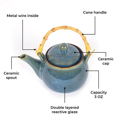 Ocean Blue Crackling Teapot Set - The Artment