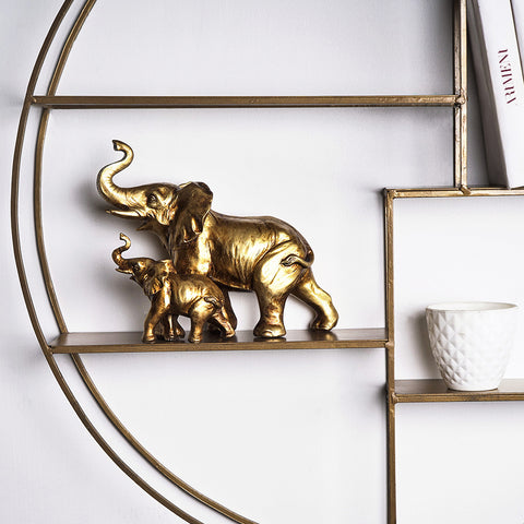 Rustic Mom and Baby Elephant Table Accent