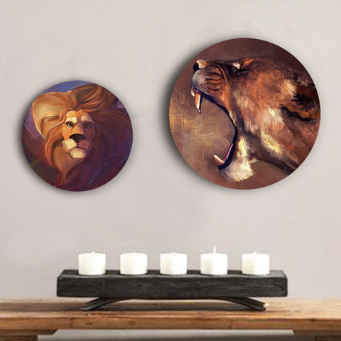 Fierce Lion and Lioness Canvas