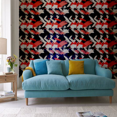 Abstract Cubist Strokes Printed Textured Self Adhesive Mural Wallpaper - The Artment