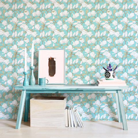 Floral Blues Printed Textured Self Adhesive Mural Wallpaper