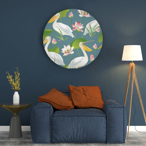 Pelicans Chilling with Lotuses Canvas