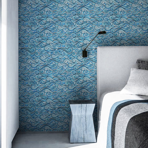 Surrealist Waves Printed Textured Self Adhesive Mural Wallpaper - The Artment